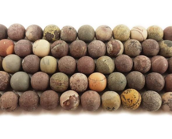 6mm Flower jasper matte round beads