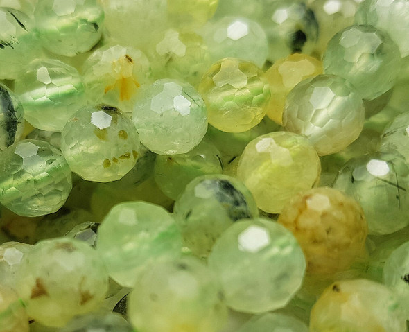 10mm Finely Cut Prehnite Faceted Round Beads