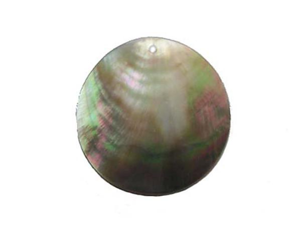 60mm Black sea shell round pendant