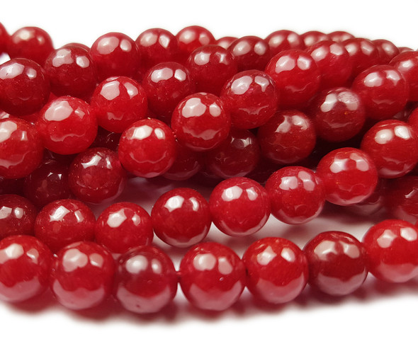 8mm  Translucent Ruby jade  faceted round beads