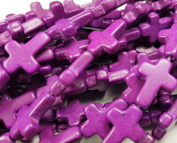 12x15mm Lilac Purple Howlite Cross Beads