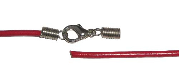 2mm thick  18.5 inches Red leather round cord