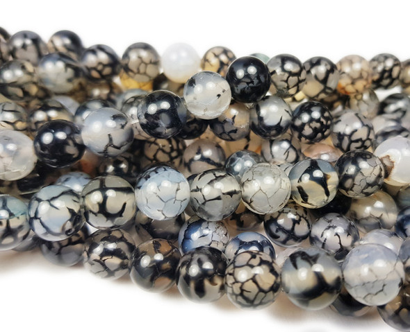 8mm Black Web Agate Smooth Round Beads