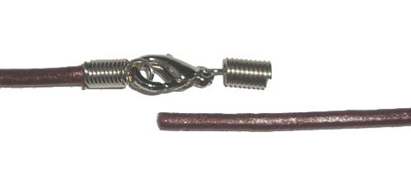 1.5mm thick  20 inches Brown leather round cord