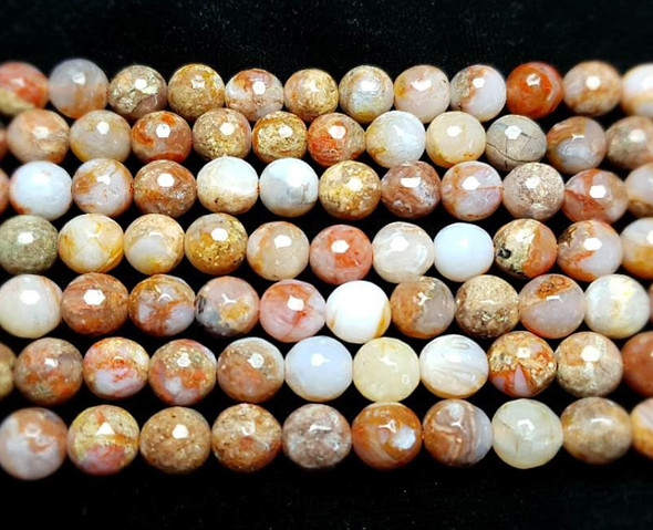 6mm High Quality Aqua Nueva Agate Faceted Round Beads