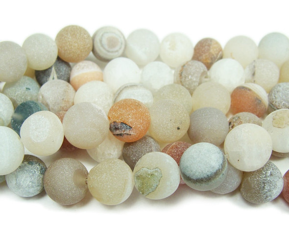 6mm 15 inch Light Gray Matte Druzy Agate Round Beads