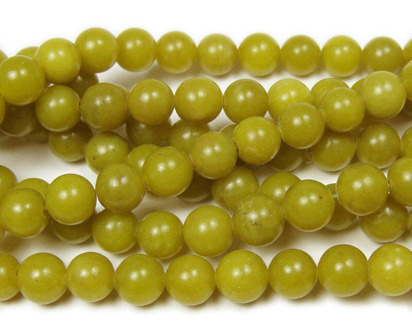 8mm Dark Olive Jade Round Beads