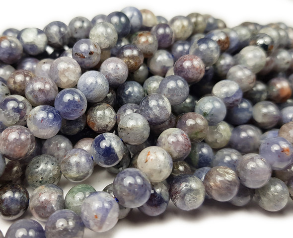 8mm Iolite Round Beads 15.5 Inches