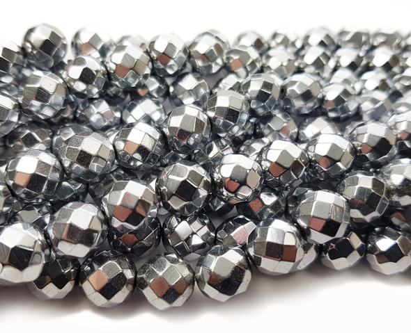 8mm Hematite Silver Faceted Round Beads