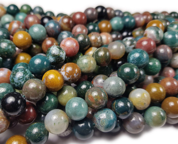 8mm Ocean Jasper Smooth Round Beads Green Brown Gray