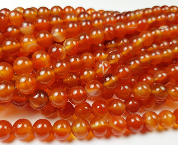 8mm Multi Color Carnelian Smooth Round Beads