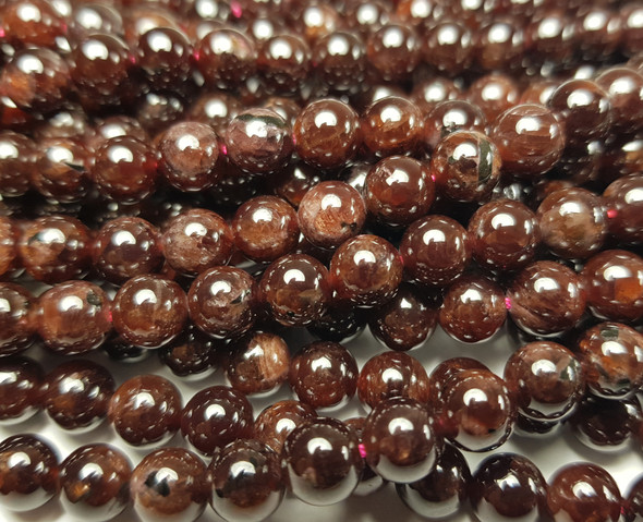 6.5mm Red Garnet Grade A Smooth Round Beads With High Luster