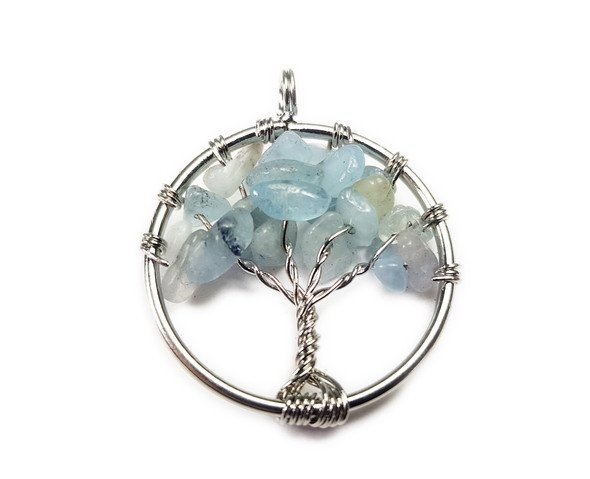 30mm Aquamarine Tree Of Life Silver Wire Pendant