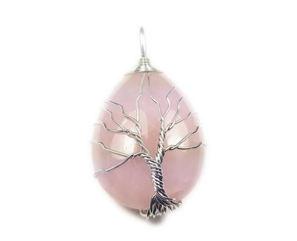 25x35mm Silver Tree of Life Rose Quartz Teardrop Pendant