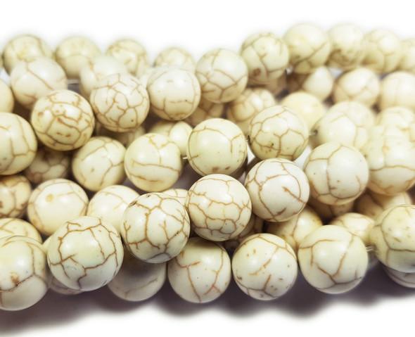 8mm White Howlite Smooth Round Beads