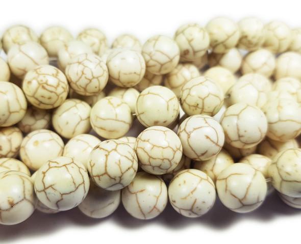 10mm White Howlite Smooth Round Beads