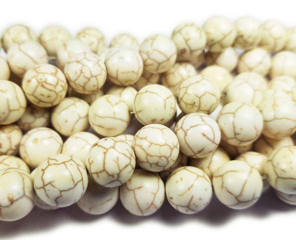 12mm White Howlite Smooth Round Beads