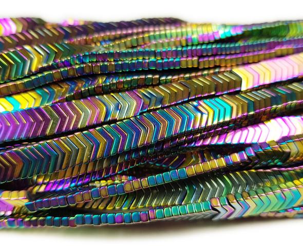 6x1mm Rainbow Hematite Shiny V-Shaped Multi Color Arrow Beads