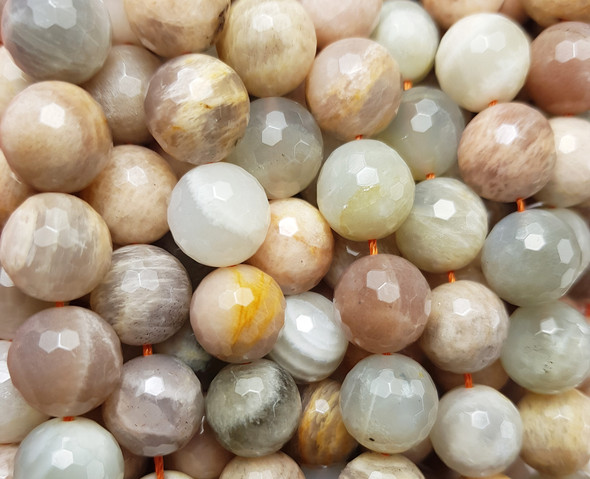 12mm Sunstone Faceted Round Beads