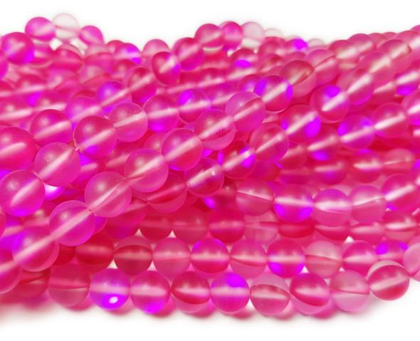 8mm Fuchsia Pink Moonlight Crystal Matte Round Beads