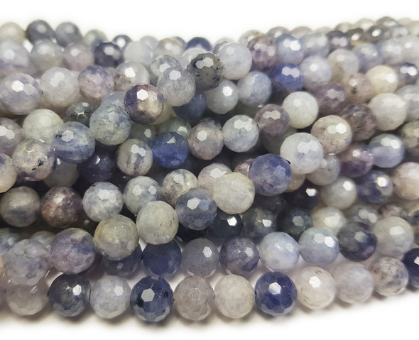 6mm Finely Cut Shiny Iolite Faceted Beads