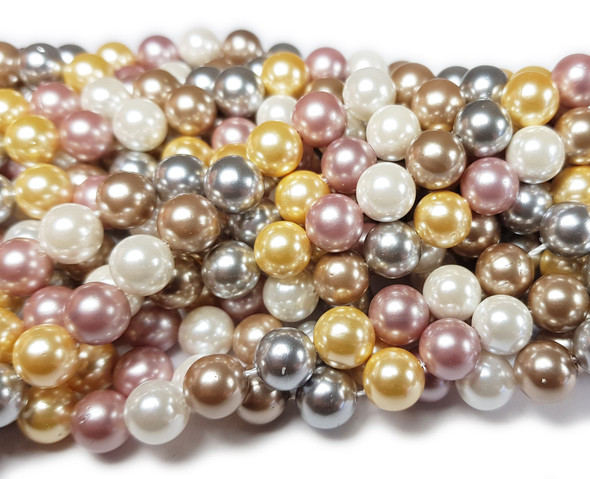 6mm Silver, White, Pink, Beige And Yellow Shell Pearl Round