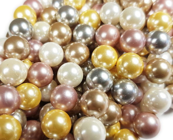 12mm Silver, White, Pink, Beige And Yellow Shell Pearl Round