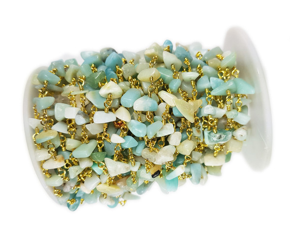 12 Inches Amazonite Chips With Gold-Plated Chain