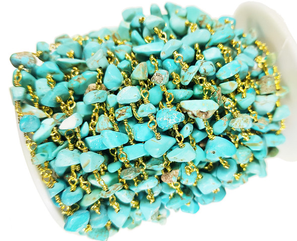 12 Inches Howlite Turquoise Chips With Gold-Plated Chain
