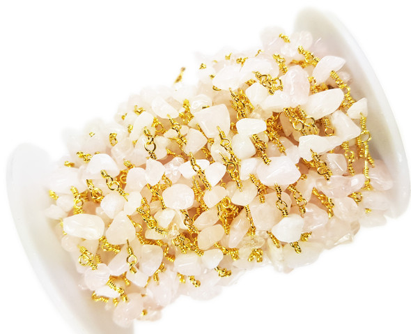 12 Inches Rose Quartz Chips With Gold-Plated Chain