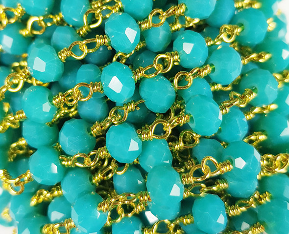 """5x6mm 12"""" Turquoise Blue Glass Beaded Gold-Plated Chain"""
