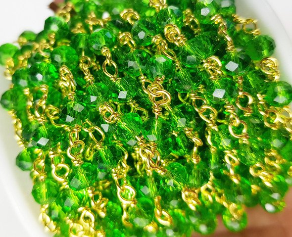 5x6mm Transparent Green Glass Beaded Gold-Plated Chain