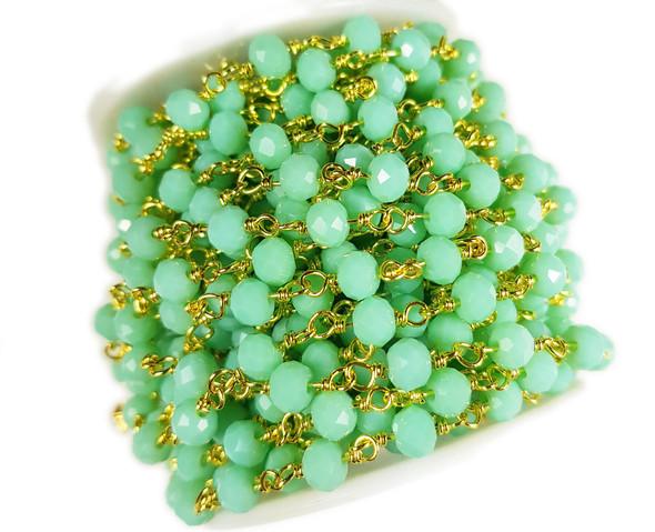 5x6mm Aqua Green Glass Beaded Gold-Plated Chain
