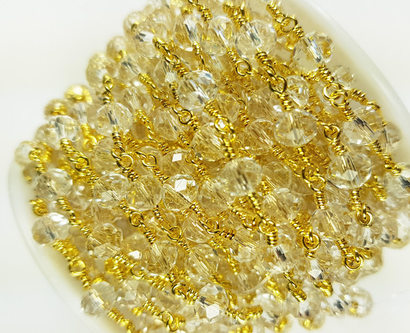 5x6mm White Crystal Glass Beaded Gold-Plated Chain