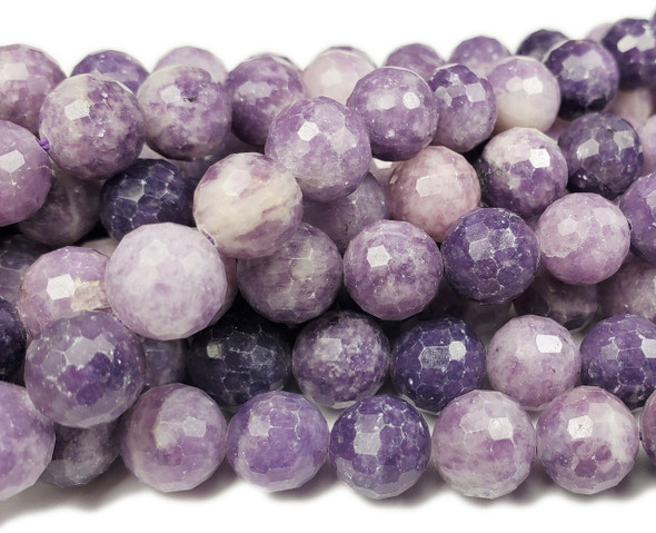 8mm Finely Cut Lepidolite Purple Round Beads