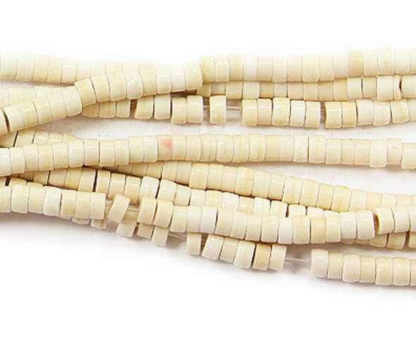 2x4mm White Howlite Heishi Beads