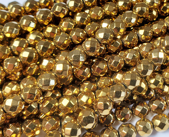 8mm Hematite Gold Faceted Round Beads