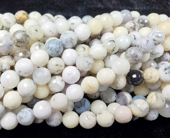 8mm Australian White Opal Faceted Round Beads