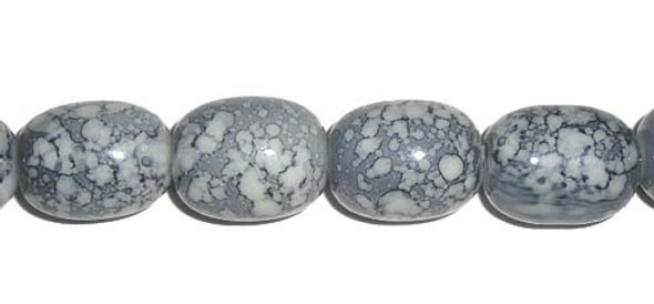 12x16mm  Porcelain gray barrel beads