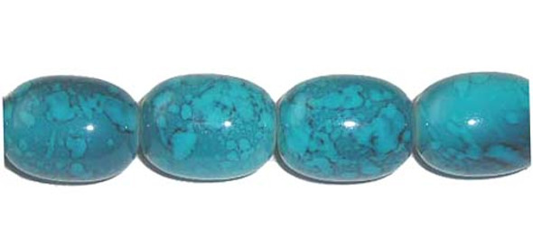 12x16mm  Porcelain turquoise barrel beads