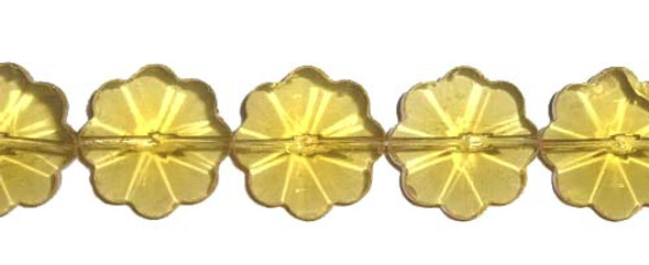 20mm 14 Inches Citrine Glass Faceted Flower Beads
