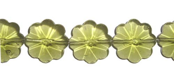 20mm 14 Inches Peridot Glass Faceted Flower Beads