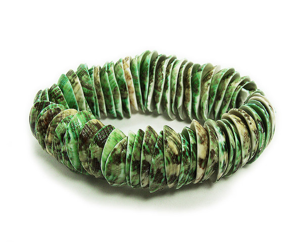 7 inches Green Full Shell Stretch Bracelet