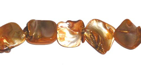 15x15mm Mother Of Pearl Golden Yellow Nuggets