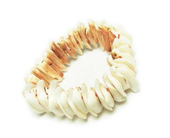 7.5 inches  pale pink Natural Shell Stretch Bracelet