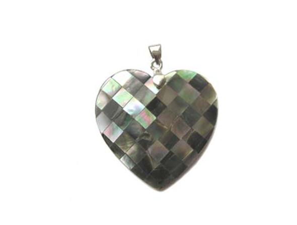 38x38mm Mosaic black shell heart-shaped pendant