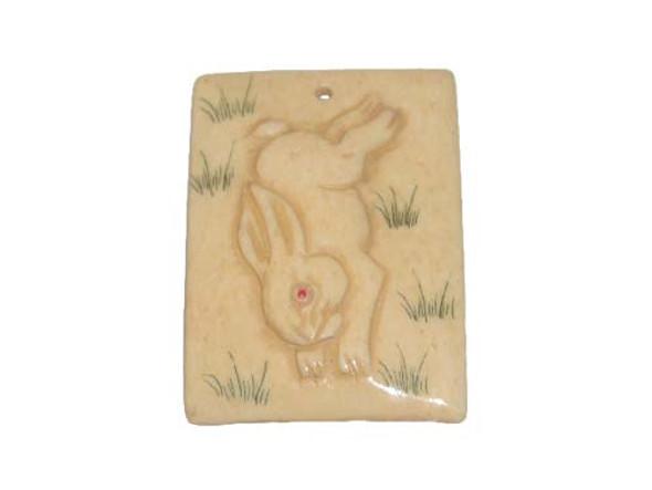 40x38mm. Rabbit Carved Bone Figure Rectangle Pendant