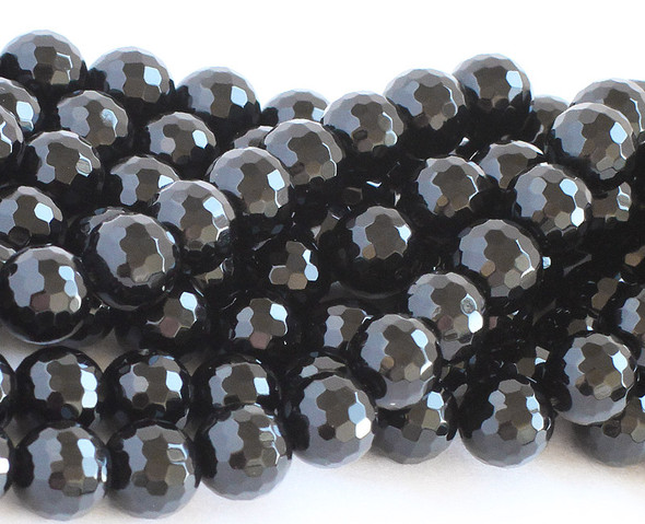 6mm  14.5 inches Black onyx faceted round beads