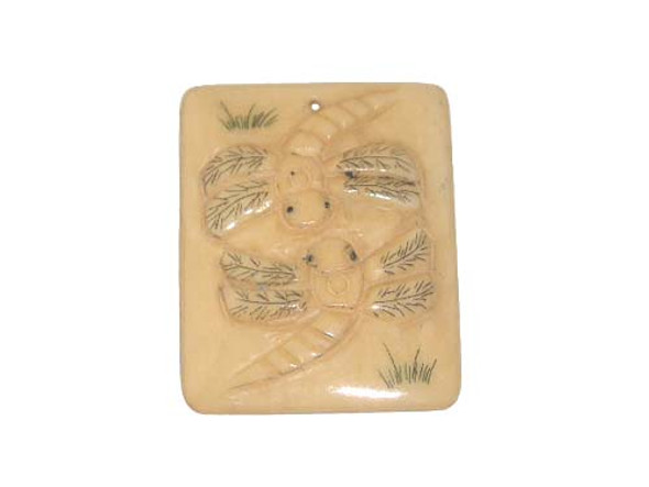 40x38mm. Dragonfly Carved Bone Figure Rectangle Pendant