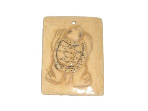 40x38mm. turtle Carved bone figure rectangle pendant